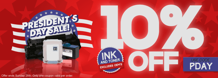 President´s Day Sale! Get 10% OFF on Ink and Toner Cartridges (excludes OEM´s). Use Code: PDAY. Offer ends Sunday 26th. Only one coupon valid per order.