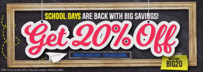 School Days are Back with BIG savings! Get 20% Ink and Toner with code: BIG20. Excludes OEMs. Orders over $100. Offer ends Sunday 26th. Only one coupon valid per order.
