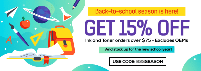 Back-to-school season is here! Get 15% OFF Ink and Toner orders over $75.And stock up for the new school year. excludes OEMs. Use Code: B2SSEASON