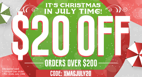 It's Christmas in July Time! $10 Off orders over $100 code: XMASJULY10. $10 Off orders over $200 code: XMASJULY20. Storewide sale. 1 coupon per order. Offer ends July 24th