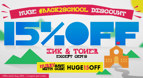 Huge #back2school Discount. 10% Off Ink & Toner except OEM's. HURRY save with code: HUGE15. Offer ends Aug 28th. 1 coupon per order.