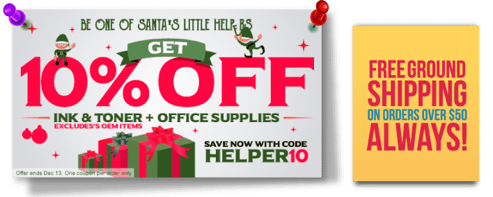 Be one of Santa's Little Helpers. Get 10% Off Ink & Toner + Office Supplies. Save Now with code: HELPER10. Excludes's OEM items.  Offer ends Dec 13. One coupon per order only.