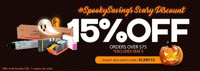 #SpookySavings Scary Discount. 15% Off Ink and Toner Cartridges. Insert discount code: SCARY15. *Excludes OEM´s.Offer ends Sunday 22th. 1 coupon per order