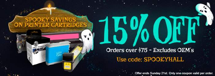 Spooky Savings on Printer Cartridges. Get 15% OFF orders over $75. Excludes OEM´s. Use code: SPOOKYHALL. Offer ends Sunday 21st. Only one coupon valid per order.