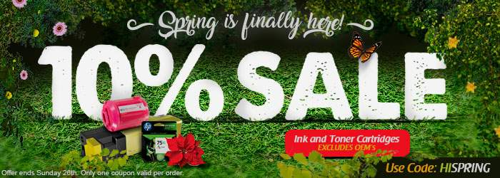 Spring is finally here! 10% Sale on Ink and Toner Cartridges. Use code: HISPRING. Excludes OEM´s. Offer ends Sunday 26th. Only one coupon valid per order.