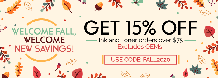Welcome fall, welcome new savings! Get 15% off Ink and Toner orders over $75. Use Code: Fall2020. Excludes OEMs.