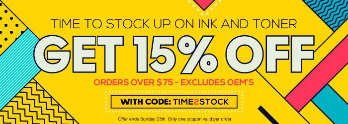 Time to stock up on Ink and Toner. Get 15% OFF with code TIME2STOCK. Orders over $75. Excludes oems. Offer ends Sunday 23th. Only one coupon valid per order.