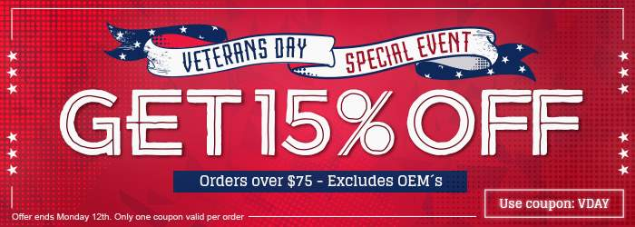 Veterans Day Special Event. Get 15% OFF your $75 order. Use coupon: VDAY. Offer ends Wednesday 12th. Only one coupon valid per order.